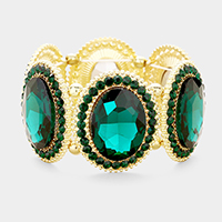 Gold & Green Marquise Oval Crystal Evening Stretch Bracelet