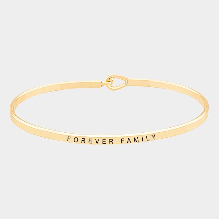 """Gold tone""""Forever family"""" Thin Metal Hook Bracelet"""