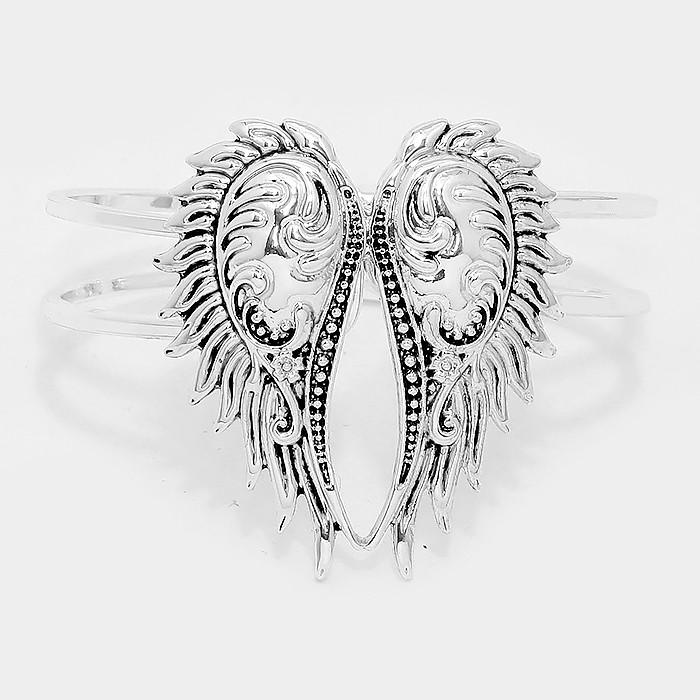 Antique Silver hinged metal wing bracelet