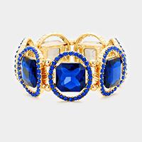 Royal Blue, Gold  Pave oval trim glass crystal stretch bracelet