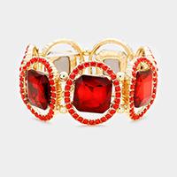 Red, Gold Pave oval trim glass crystal stretch bracelet