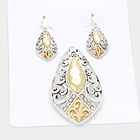 Silver & Gold Crystal detail two tone metal filigree pendant set