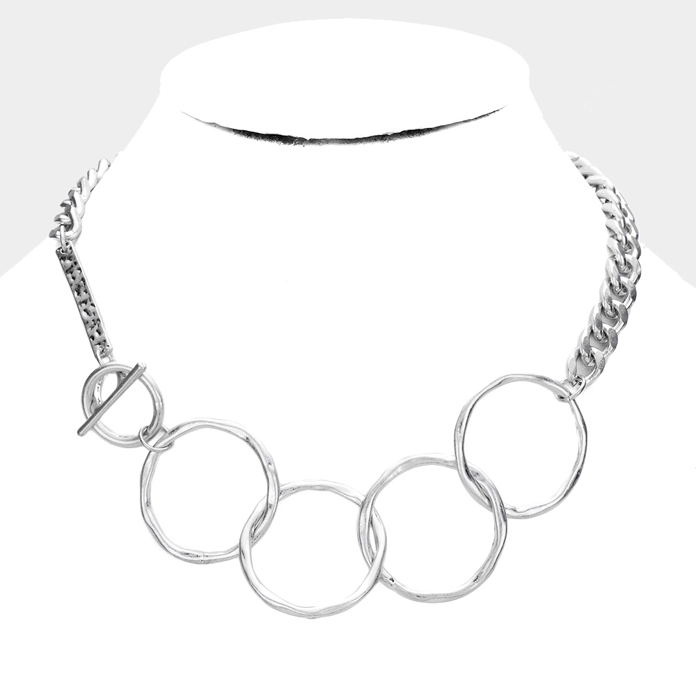 SOLD OUT-Worn Silver  Metal Open Circle Toggle Chain Necklace