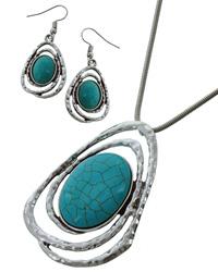 Burnished Silver Tone & Turquoise Stone Long Pendant  Neck & Earring Set