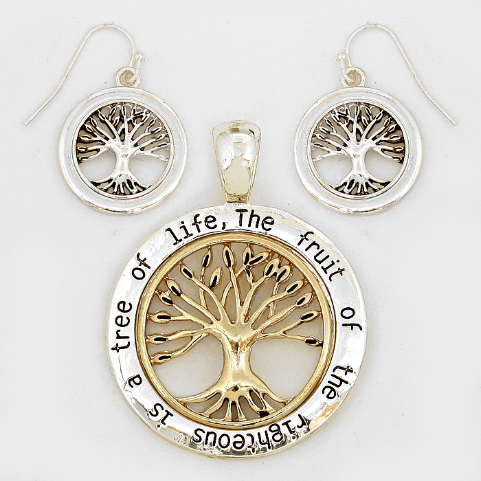 Gold & Silver Burnished Tree of Life Pendant Set