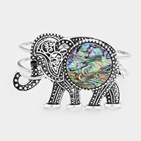 SOLD OUT-Abalone, Silver Burnished Embossed Metal Elephant  Wire Hinged Bracelet