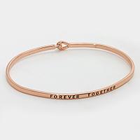"""Rose Gold  """"Forever together"""" Thin Metal Hook Bracelet"""