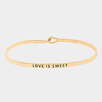 """Gold """"Love is sweet"""" thin metal hook bracelet"""