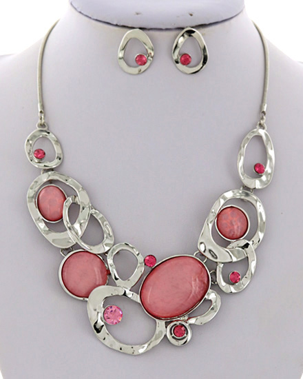 Pink Necklace & Earrings