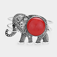 Red, Silver Burnished  Embossed Metal Elephant Wire Hinged Bracelet