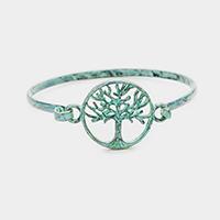Patina Verdigris Filigree Tree of Life Metal Hook Bracelet