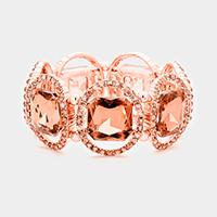 Rose Gold & Peach Pave oval trim glass crystal stretch bracelet