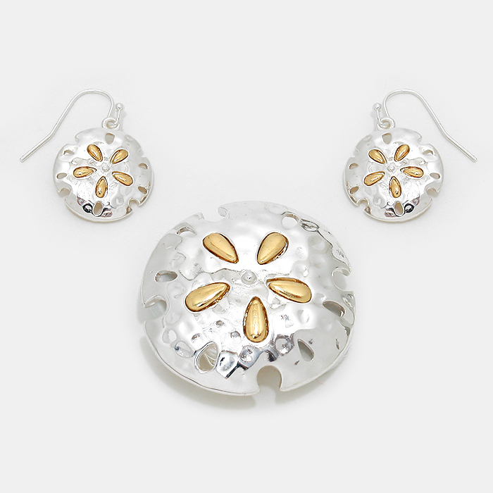OUT OF STOCK-Gold, Silver Sand Dollar Magnetic Pendant Set