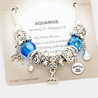 Aquarius Multi-bead zodiac sign charm bracelet