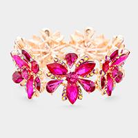 Fuchsia, Rose Gold Flower & Leaf Marquise Floral Crystal Stretch Evening Bracelet