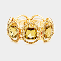 Gold, Brown  Pave oval trim glass crystal stretch bracelet