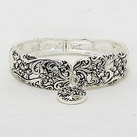 "Silver""Tree Of Life"" Stretch Bracelet"