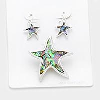 Abalone, Antique Silver Abalone starfish pendant set