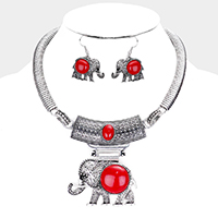 Red &Silver Embossed Elephant Pendant Necklace