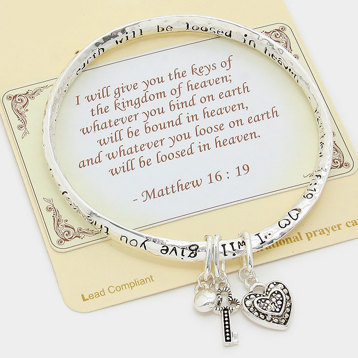 "Silver ""I will give you the keys of the kingdom of heaven"""" Key & Heart Charm Bracelet"