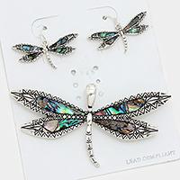 Abalone Dragonfly Pendant Set