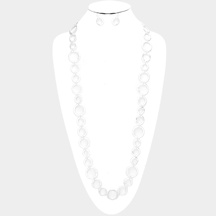 Matte Silver  Round Metal Linked Long Necklace & Earrings Set