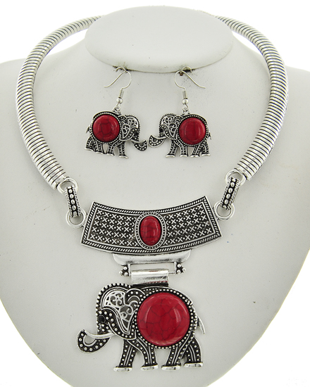 Antique Silver & Red Stone Necklace & Earring Set