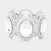 Clear, Silver Marquise Oval Crystal Evening Stretch Bracelet