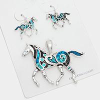 Antique Silver, Turquoise Colorful horse pendant set