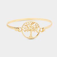 Worn Gold Filigree Tree of Life Metal Hook Bracelet