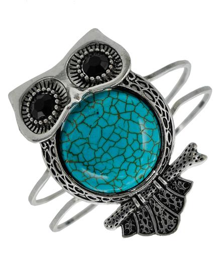 Embossed Metal Owl Howlite Wire Hinged Bracelet