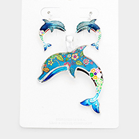 Enamel Floral Pattern Dolphin Pendant Set