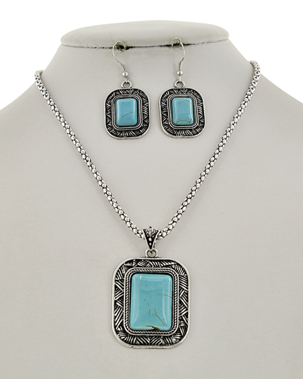 Square Pendant  SILVER/TURQUOISE   Necklace & Earring Set