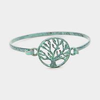 Patina Verdigris Tree of Life Metal Hook Bracelet