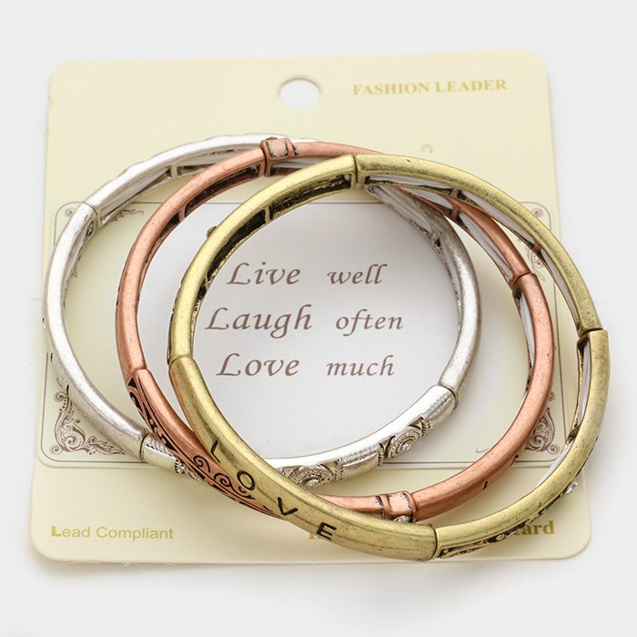 "3 Layers Bracelet  ""Love Hope Faith"" Stretch Stack Bracelet"