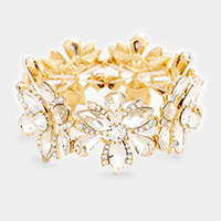 Clear, Gold Marquise Floral Crystal Stretch Evening Bracelet