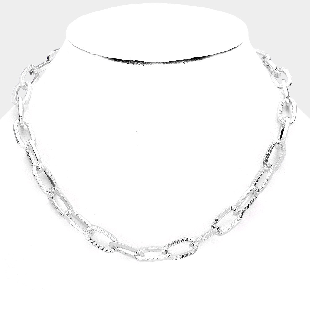 Silver Stripe Textured Metal Chain Link Necklace