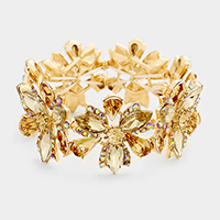 Brown, Gold Marquise Floral Crystal Stretch Evening Bracelet