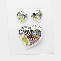 Silver, Abalone Abalone heart pendant & Earrings
