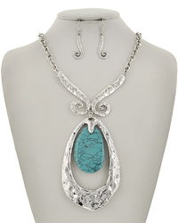 Silver Tone Turquoise Stone Teardrop Necklace & Earring Set
