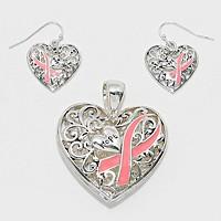 Silver Burnished & Pink Ribbon Pendant Set