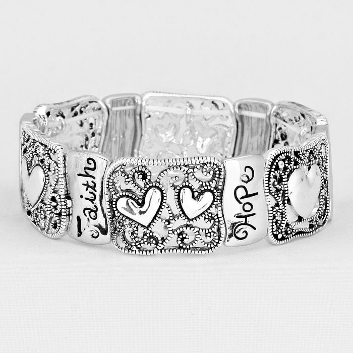 "Silver ""Faith Hope Love"" Stretch Bracelet"