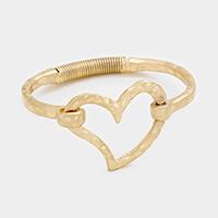 Worn Gold Metal Heart Hook Bracelet