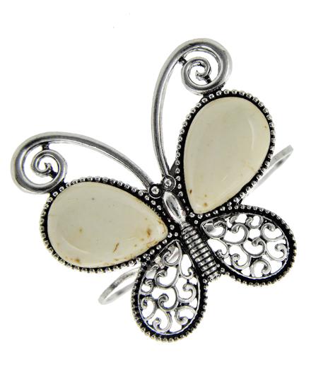 White Antique Silver Tone & Butterfly Bracelet