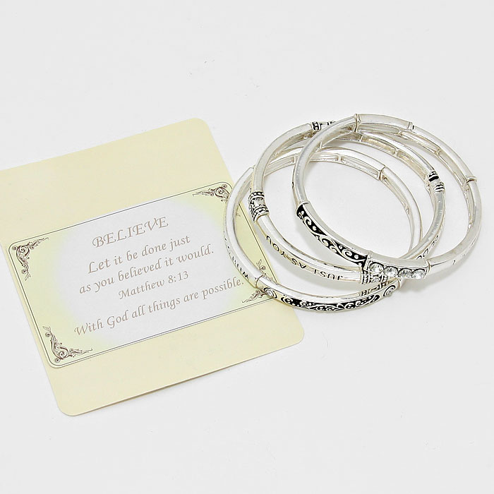 "Believe"" 3-Layers Religious Bracelet with Card"