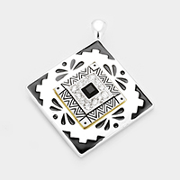 OUT OF STOCK-Black, Silver Stone Embossed Antique Square Magnetic Pendant only