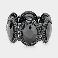 Jet Black  Marquise Oval Crystal Evening Stretch Bracelet