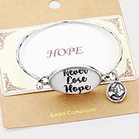"""Silver Burnished """"Never Lose Hope"""" Bird Charm Hook BraceletCharm Hook Bracelet"""