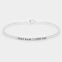 "Rhodium ""Dear mom : I love you"" Thin Metal Hook Bracelet"