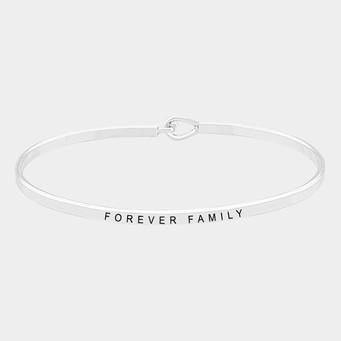"""Rhodium """"Forever family"""" Thin Metal Hook Bracelet"""